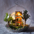 Diy Doll House miniatura Glass Ball Wooden Miniature Dollhouse mini Handmade with lights free shipping
