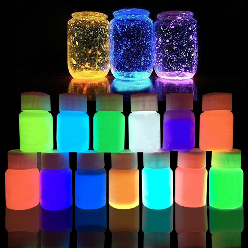 цена на 13 Colors Acrylic Paint Glow in the Dark gold Glowing paint Luminous Pigment Fluorescent Powder painting for Nail Art supplies
