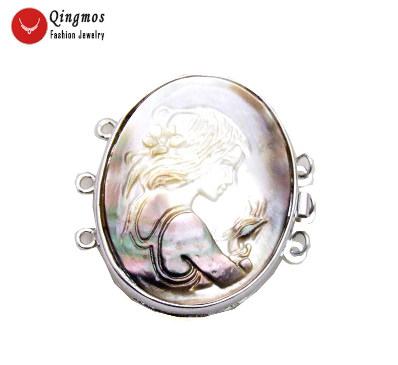 Qingmos Trendy Gray 30 40mm Oval Cameo Beauty Head Design 3 Strands Craft Clasp Accessories for Jewelry Making Necklace gp123 in Jewelry Findings Components from Jewelry Accessories
