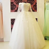 Romantic Boat Neck Ball Gown Wedding Dress 2018 Bridal Gowns Beading Crystal Lace Flowers Long White Bride Dress Luxury Style