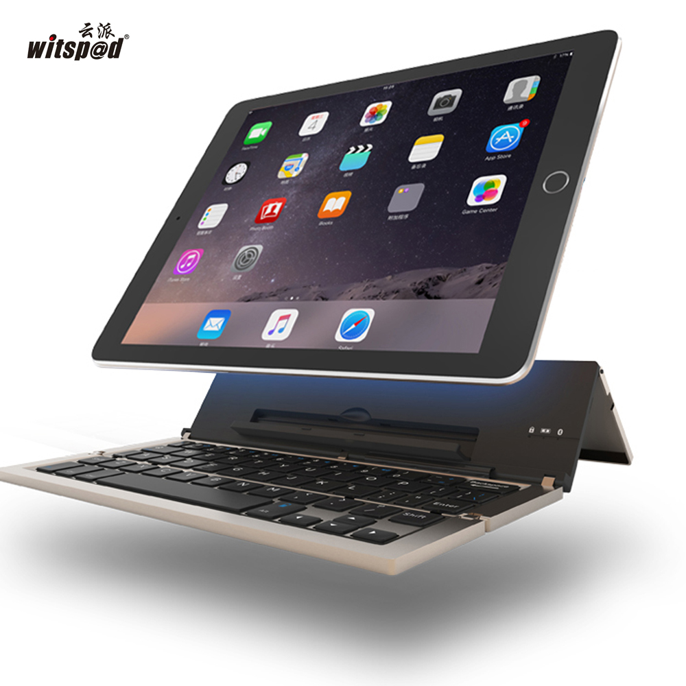 witsp@d Universal Metal Folding Bluetooth Keyboard,Portable Bluetooth Keyboard Keypad for Android IOS Windows Tablet/Smartphone