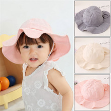 PUDCOCO Childrens Kids Baby Girl Summer Sun Hat Bucket Hats Wide Brim Floppy Cap Bonnet