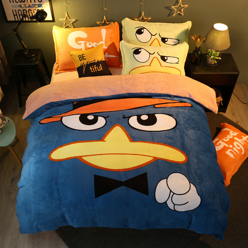 Winter 4 Pieces Cartoon uil Luxe Beddengoed Set Kingsize Queen Bed Set Fleece stof Dekbedovertrek Laken Kussensloop - 2