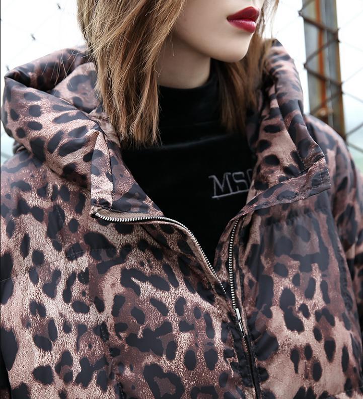 Survêtement Oversize Leopard rembourré Parkas Longues Print Imprimé Manteau Capuchon Manches Chaud De Femmes Mode À Hiver Lâche Léopard Veste L1641 Coton fZwnFT