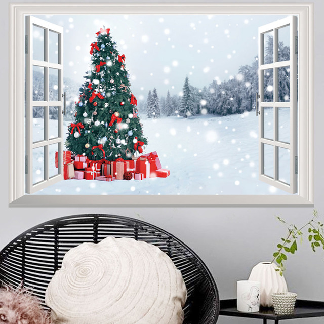 2018 Christmas Tree Wall Sticker For Kids Room 3D Outside The Window Snow Wall  Decals Christmas