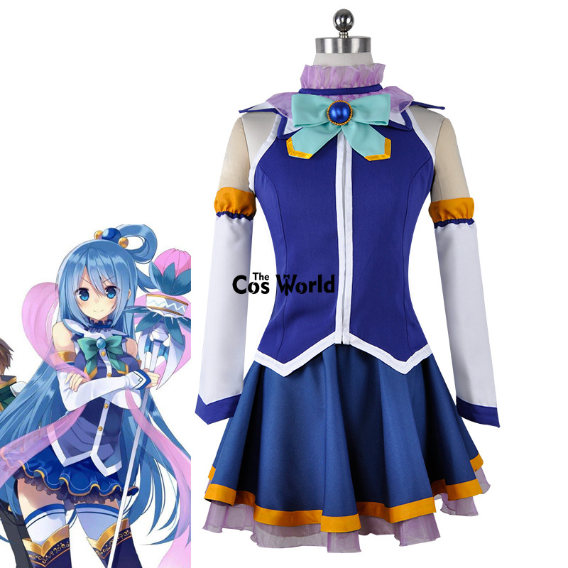 KonoSuba God's Blessing On This Wonderful World Aqua Tops Dress Uniform Outfit Anime Cosplay Costumes