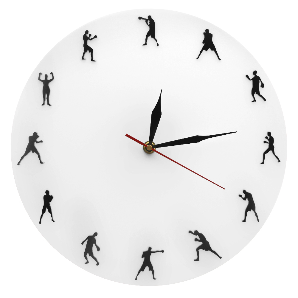 Boxing Minimalist Design Modern Wall Clock Boxing Fighters Decorative Prizefighting Wall Clock Boxing Boxers Wall Art Sport Gift