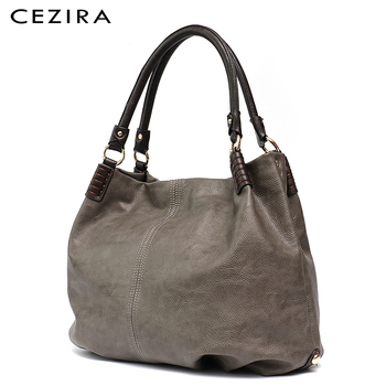 CEZIRA Causal Large Women Shoulder Bag Ladies Tote Bags Work Solid Thread Handbag Female Hobo Pu Leather Girl Crossbody Bags