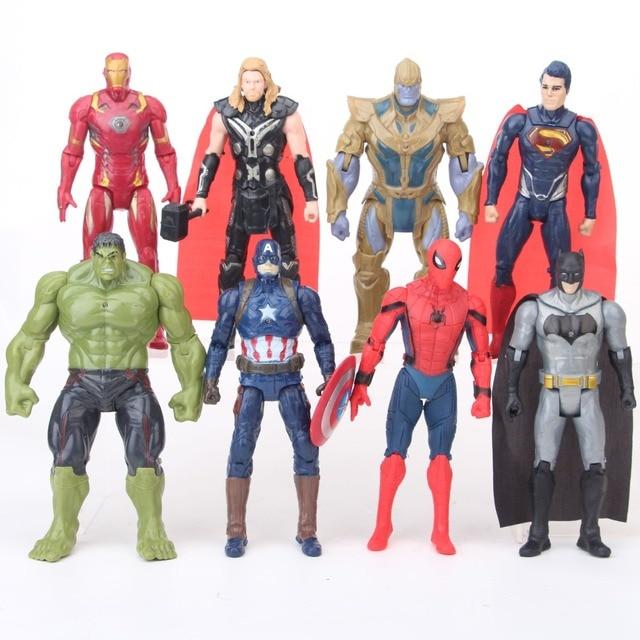 NOVA 8 pçs/set Infinito Guerra Homem de ferro Do Homem Aranha Batman Hulk Thor Vingadores Thanos Superman Action figure boneca brinquedos de presente de Natal