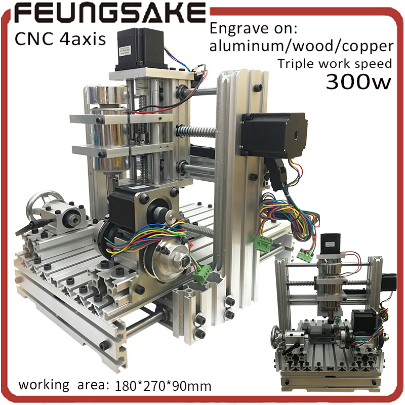 4 Axis cnc router,MACH3 control,working area 180*270*90mm,Pcb Milling machine,stone Wood Router,CNC carving High speed engrave