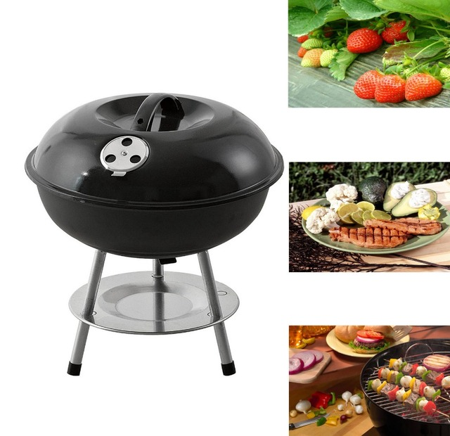 14 Mini Table Top Black Stainless Steel Kettle Portable Bbq Grill Charcoal Camping Easy Carrying Barbecue