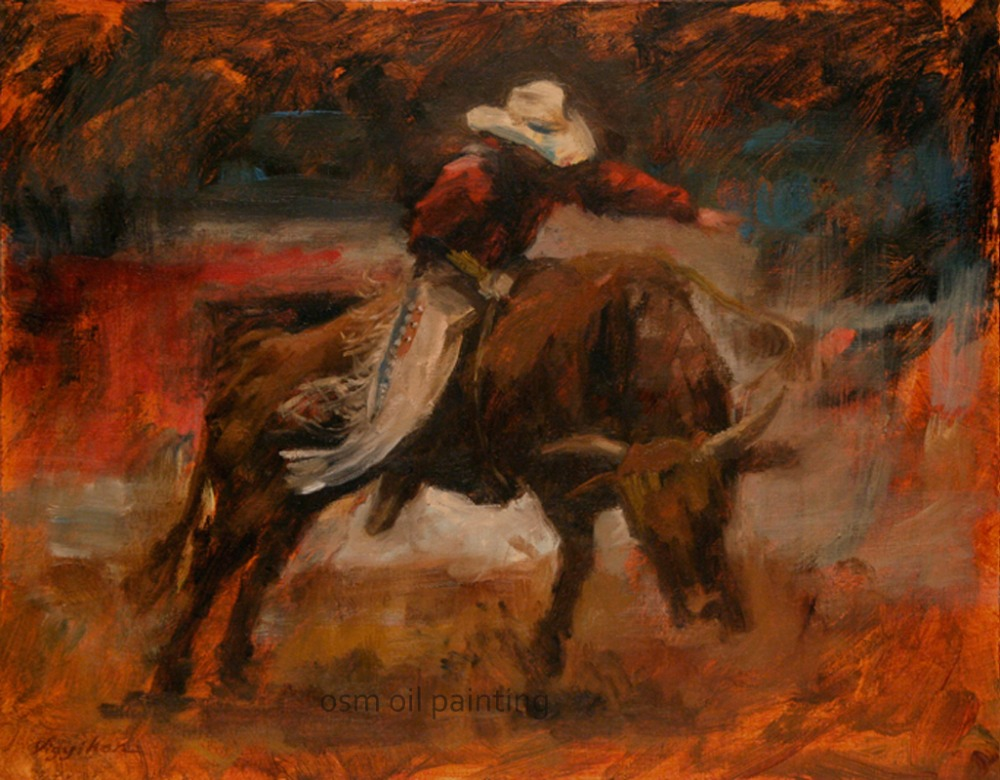 High Skill Hand Painted Spain Bullfight Oil Painting on Canvas Wall Artwork Man and Strong Bull Hang Pictures Crafts for Home