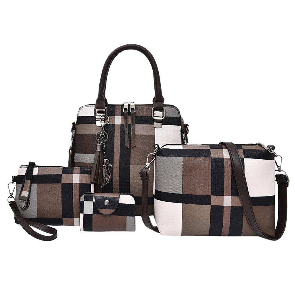 Vintage Leather Fashion Composite Bag Shoulder Crossbody Handbag Phone Bag For Women Girls 4Pcs