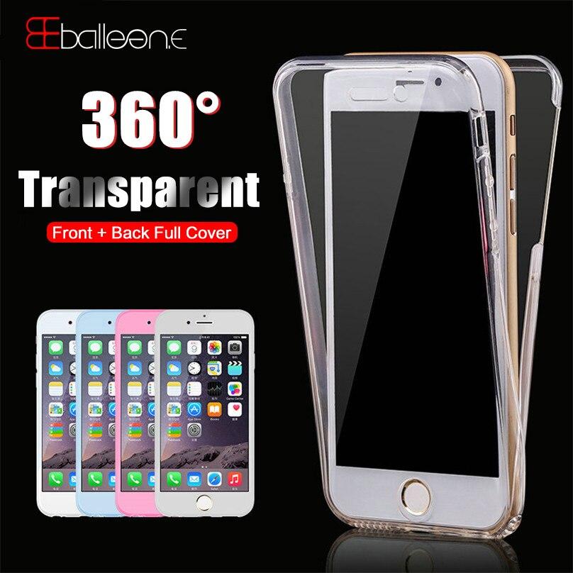 Balleen.E 360 Shockproof Armor Phone Case For iPhone 7 8 Plus Clear Case For iPhone X 6 6s Plus 5 5s SE Silicone Full Back Cover