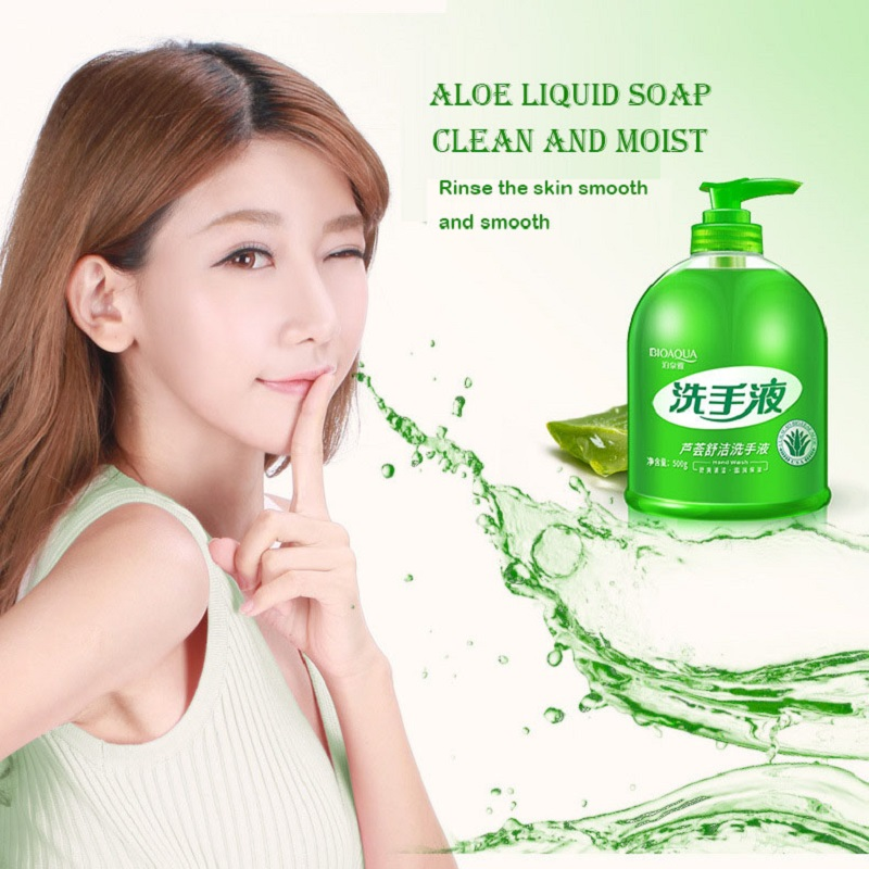 BIOAQUA liquid Hand Soap Portable Hands Sanitizer cleaner bactericidal fresh hand sanitizer Aloe vera skin care 500 ml