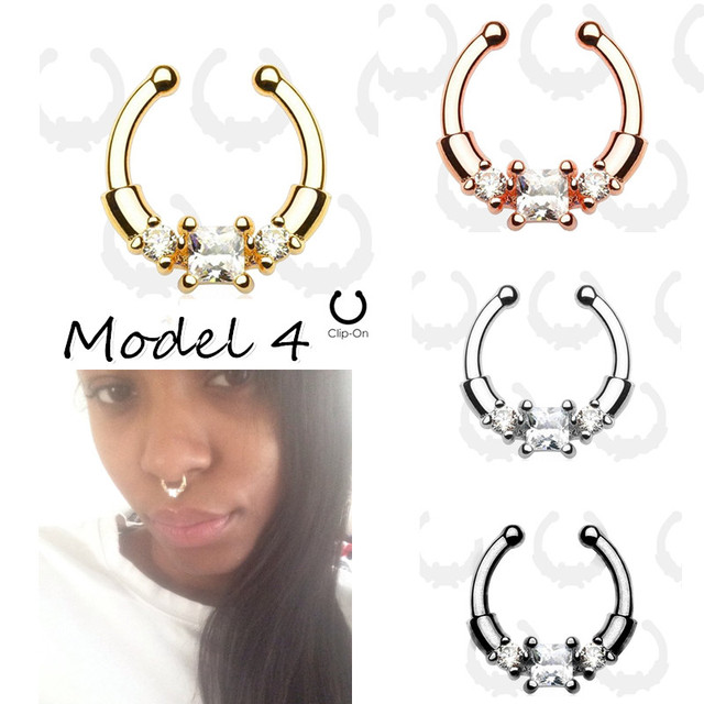 Women Silver Fake Piercing Nose Rings 4pcs