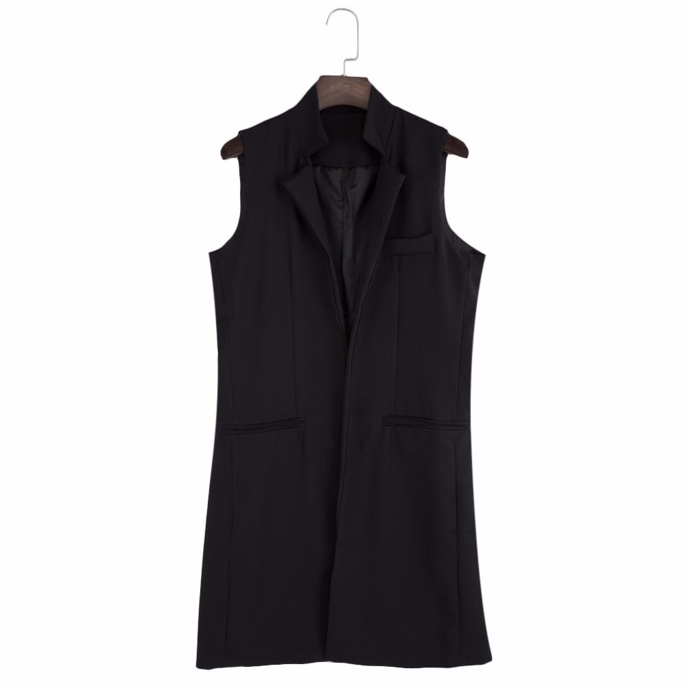 VESTLINDA Long Vest Back Split Outwear Waistcoats Women White Black Jacket Coat Sleeveless Cardigan Pocket Blazer Vest Femme Top 17