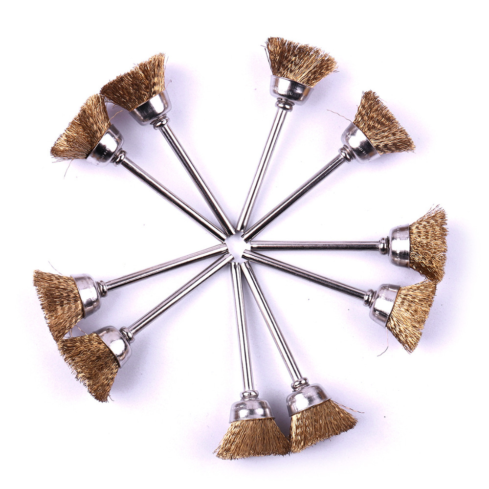 100 шт./компл. чашки Форма проволока латунная щетка Kit 1/8 хвостовик 2 длина кисти для удаления ржавчины и окисления щетка набор инструментов