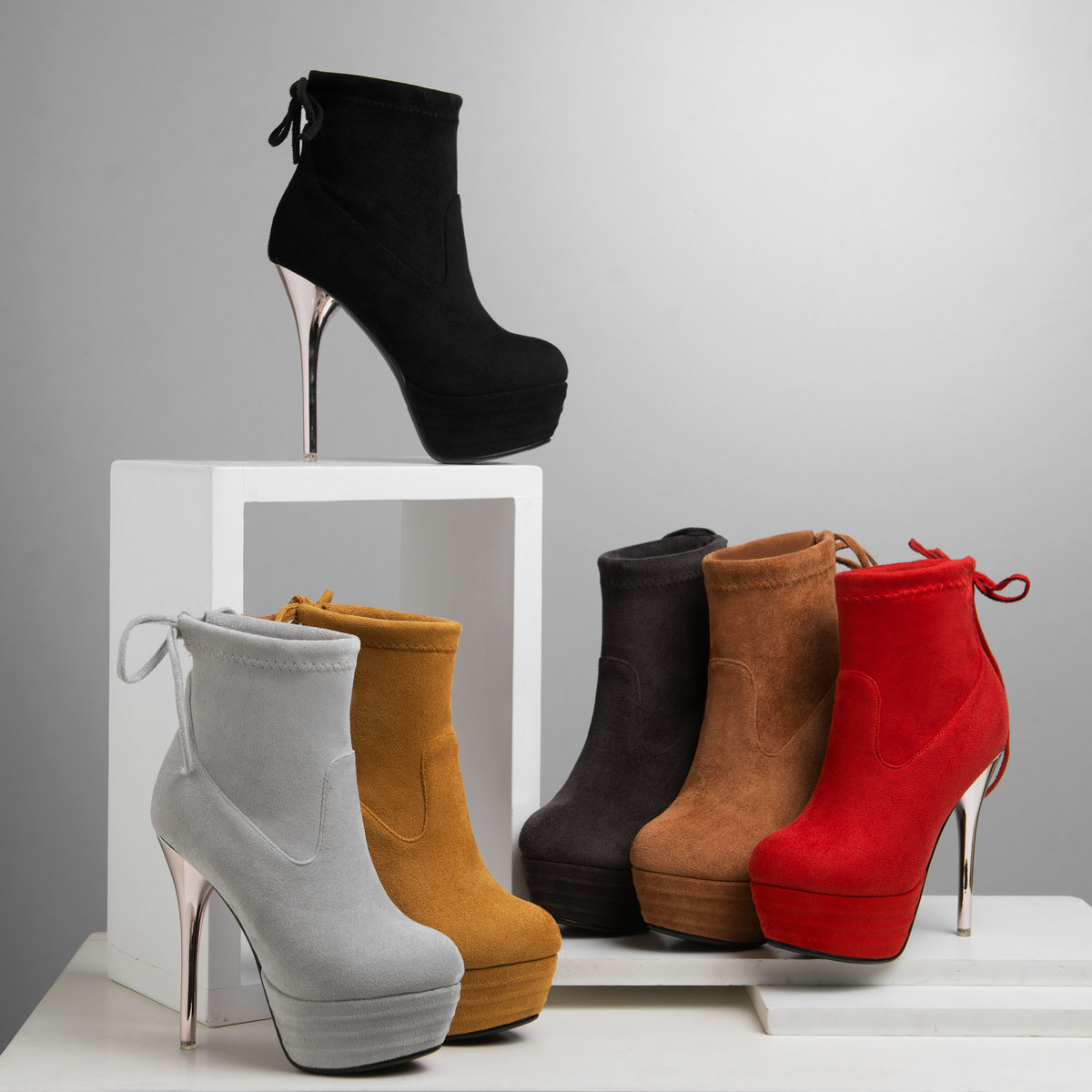 Qualité Court Stiletto La Marque ardoisé Femmes Chaussures Assurance Noir gris À marron Bottes Qzyerai 2018Nouveau rouge jaune De Mode u1FK3T5clJ