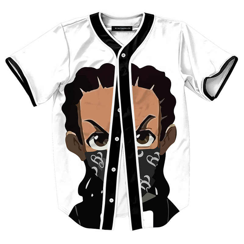 2018 Boondocks Riley Men Breathable Button Down 3D Print Anime T-shirt Unisex Short Comfortable Suit Homme Teen Cool Top Summer