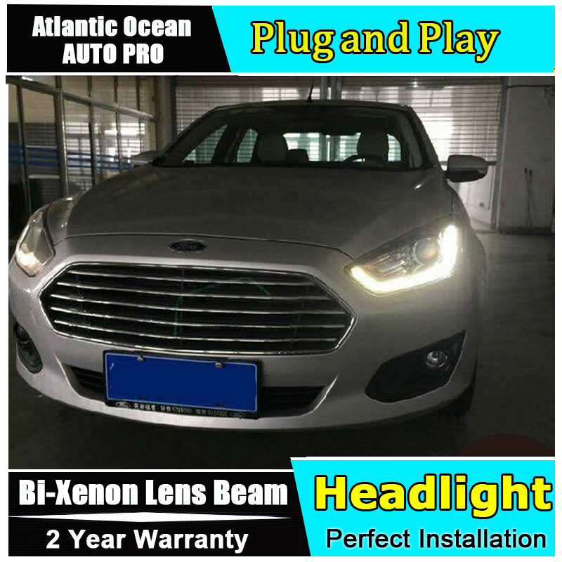 Car Styling LED Head Lamp for Ford Fusion headlights 2015 ESCORT led headlight drl turn signal drl HID KIT Bi-Xenon Lens low bea ford escort в спб