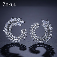 Feilang Luxury Clear Zirconia Jewelry New Fashion Cubic Stud Earrings Crystal Brand for Women FSEP455