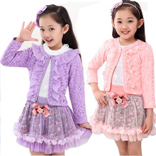 2017 Kid girls fashion sweet and elegant skirt clothing suit spring and autumn children lace sequins streetwear three-piece