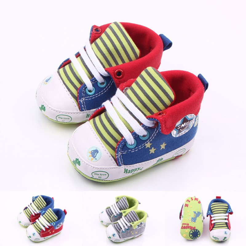 Dinosaur Kids High Cut Canvas Shoes Baby Boy Casual  Animal Shoe  Infant  Soft Sole Prewalker Shoe For 0 -18 Months Babies