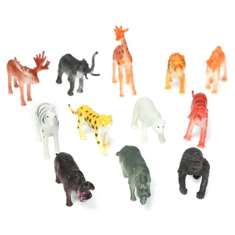 12 pçs/set Plástico Figura Leopardo Tigre Hipopótamo Girafa Crianças Brinquedo Animal Do Jardim Zoológico Animal Lindo Set Brinquedos Presente Para As Crianças