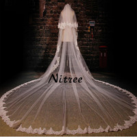 2017 3.5M Women Wedding Veils Lace Appliques Edge 3M Width Bridal Veil Two Layers Veil With Comb Vestido de noiva High Quality