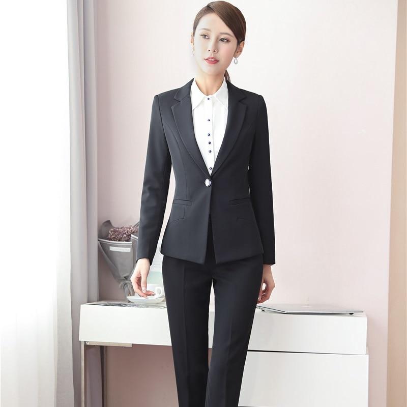 Dames Pour D'affaires Ol Taille Ensembles Blue Femmes Costumes Bureau Dark Et Uniforme Formelle Plus Vestes Conceptions Pantalons Style black Blazer Automne Hiver CYB7xS