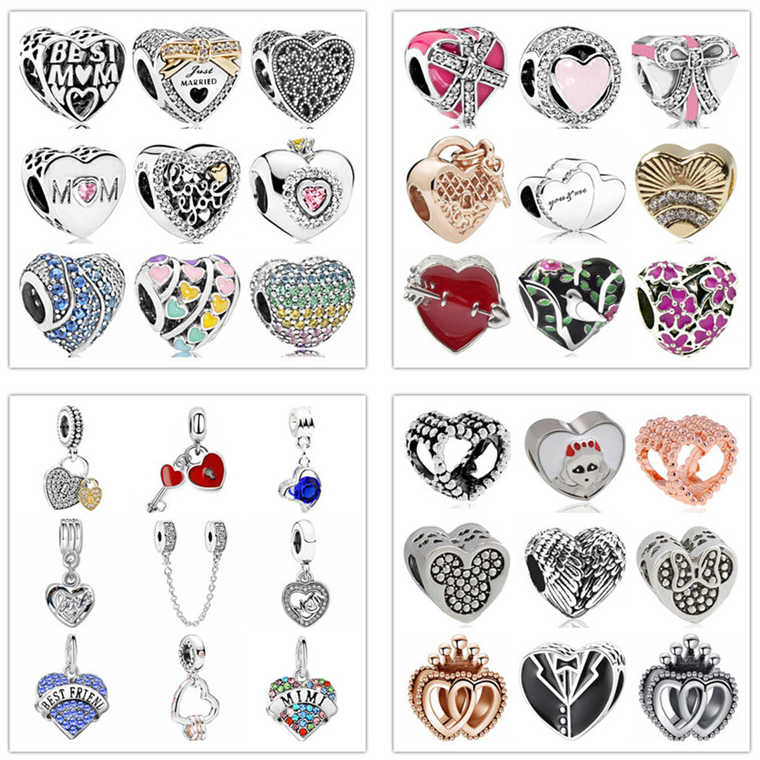 8bc25bf8a maxi colorful bow crystal lock love hearts diy bead fit Original Pandora  charms silver Bracelet trinket