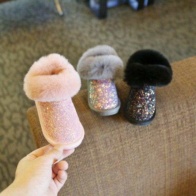 2020 חורף חם חדש תינוקת שלג מגפי אופנה פרווה בלינג בנות אתחול תינוקות לפעוטות נעליים ראשון הליכונים חורף Booites