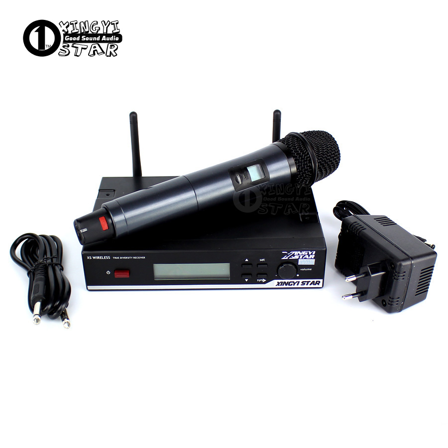 True Diversity Stage Singer Professional UHF Wireless Microphone System Vocal Handheld PC Karaoke Mic Mike Microfono Inalambrico free shipping professional uhf wireless microphone system mic mike for karaoke ktv stage dj dynamic microfono sem fio microfone