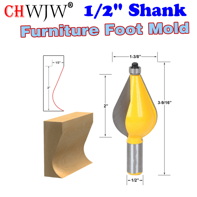 1PC 1/2 Shank Large Furniture Foot Mold Router Bit Line knife Woodworking cutter Tenon Cutter for Woodworking Tools 2 bit jewelry box side and foot mold router bit set 1 2 shank woodworking cutter tenon cutter for woodworking tools