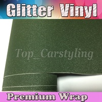 Army Green Glitter Sparkle Vinyl Car Wrap Sticker with Air bubble Free Decal Film CARS LAPTOPS FURNITURE 1.52x30m/Roll 5x98ft