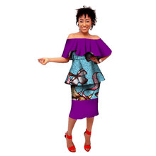 цены 2017 summer atumn African dresses for women ankara dashiki wax batik printing suit 100% cotton top+skirt set clothing WY1542