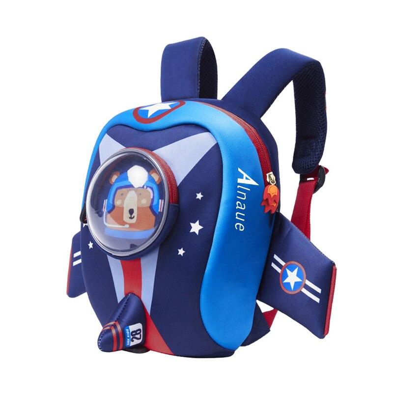 Детский портфель с защитным поводком, водонепроницаемый рюкзак с ракетой для детсадовцев, дошкольников, малышей, мальчиков и девочек