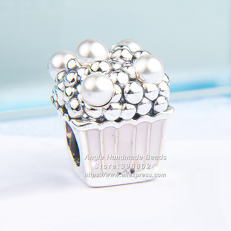 2018 Summer S925 Silver Jewelry Delicious Popcorn Pale Pink Enamel & White Crystal Pearl Charms Bead Fit DIY Bracelets Necklace