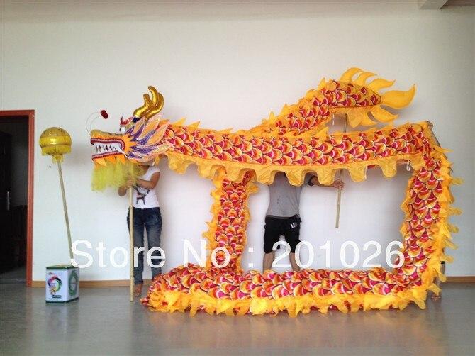18 m garums, izmērs 3, zīds, apdrukāts, audums, dzeltens, ķīniešu, DRAGON, deja, ORIGINAL, pūķis, ķīniešu, folks, svētki, svētku, tērps