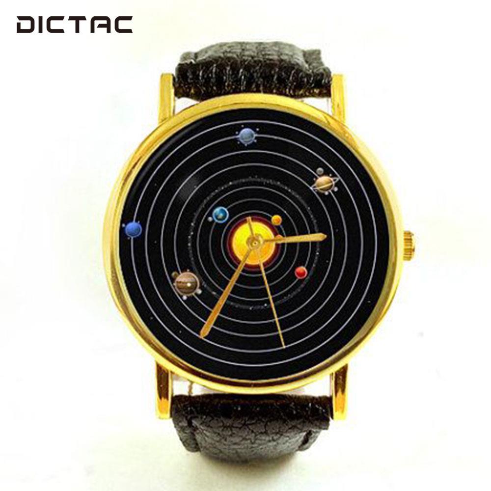 Space Planets Astronomy Quartz Watch Wrist Watch Casual Accessories Belt Watch Unisex Clock Gifts