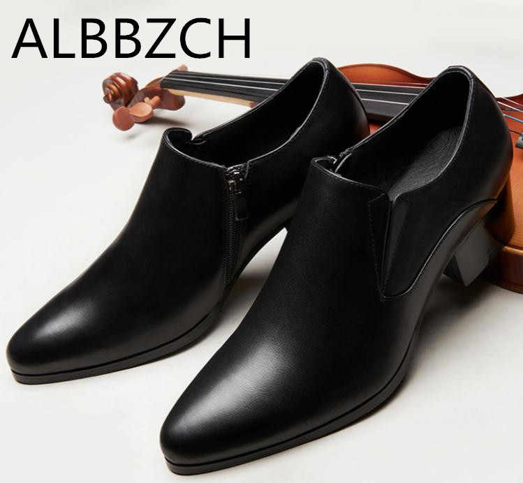 US $81.22 28% OFF|Autumn winter mens pointed toe genuine leather ankle boots men high heels quality wedding dress shoes career work boots botas 44 in