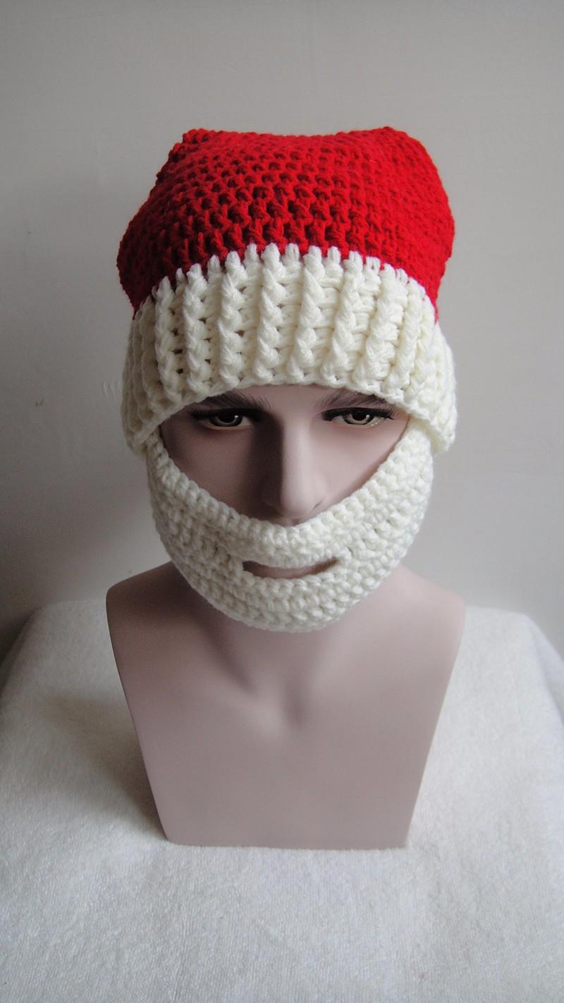 2016 Adult Crochet Knit Beanie Santa Claus Handmade Knitted Hat Hot Fashion Bearded Cap Women Men Christmas Gifts Accessories (9)