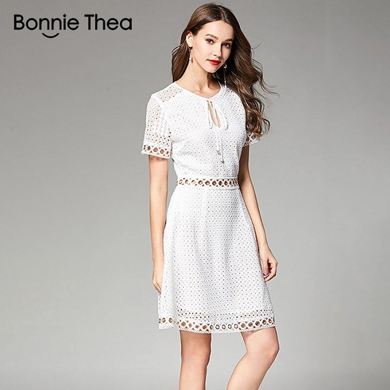 Bonnie Thea Mulheres Verão Branco Vestido De Renda Do Sexo