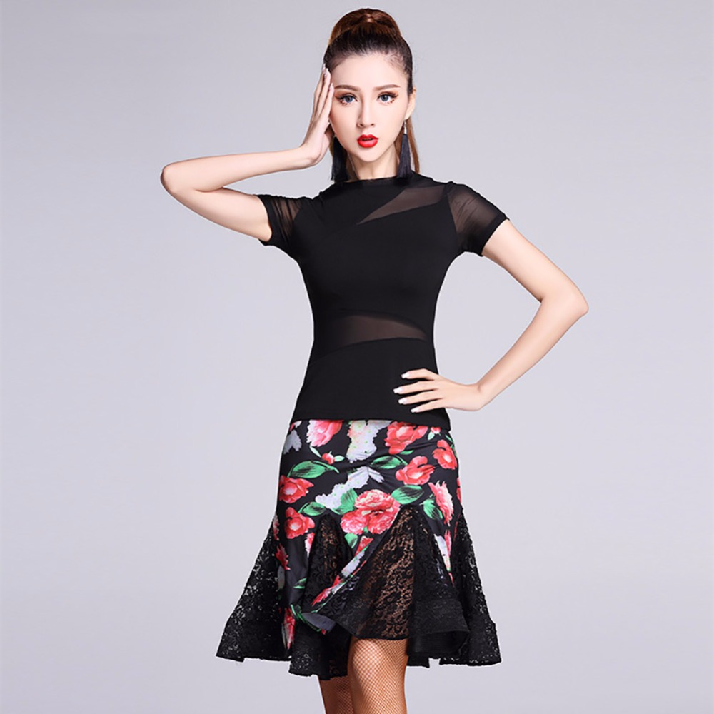 2018 Ladies Latin Dance Costumes Top&Skirt For Women Modal Senior Sexy Quality Professional Flamengo Salsa Samba Tango MD7132