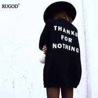 RUGOD 2017 New Arrival Autumn Winter Knitted Crochet Sweater For Women Long Letter Open Stitch Female