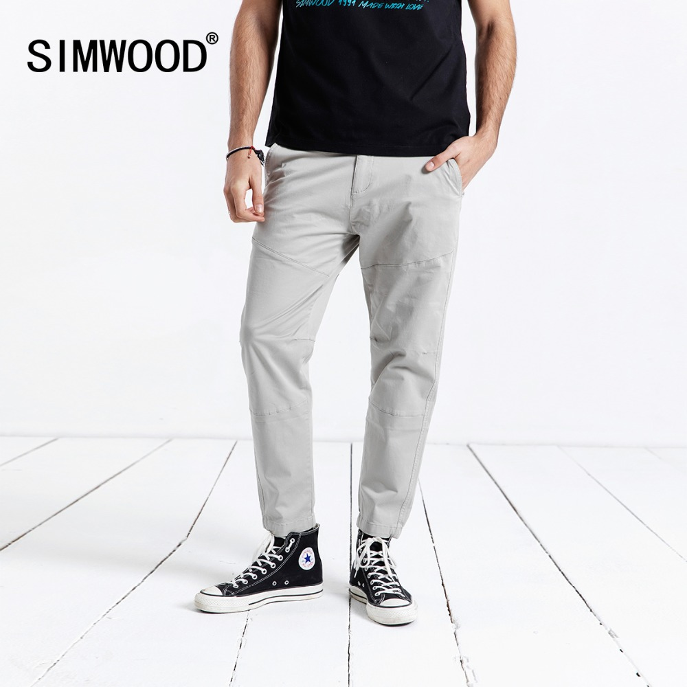 SIMWOOD 2020 Casual Pants Men Ankle-Length Pants Fashion Slim Spring Male Trousers High Quality Plus Size Brand Clothing 180612