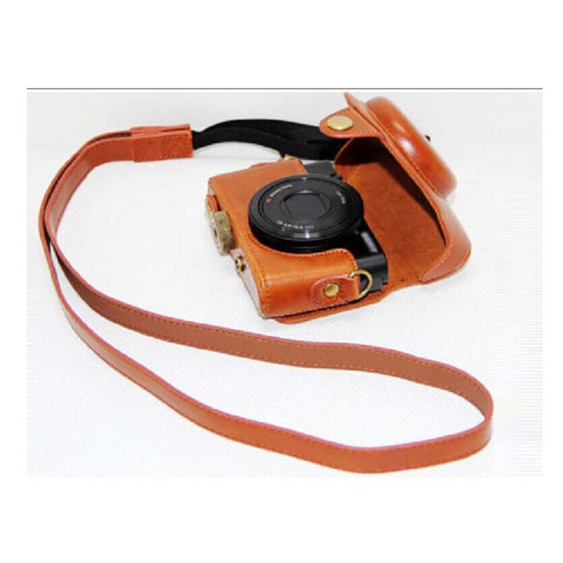 Leather Camera case bag Strap for DSC-RX100 RX100 M2 RX100 II Color brown