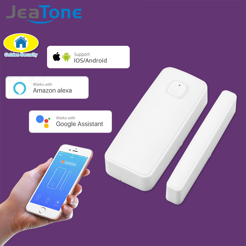 WIFI Door Sensor APP Control 110dB Door Security Alarm Magnetic Switch Wireless Window Door Opening Sensor Compatible with Alexa