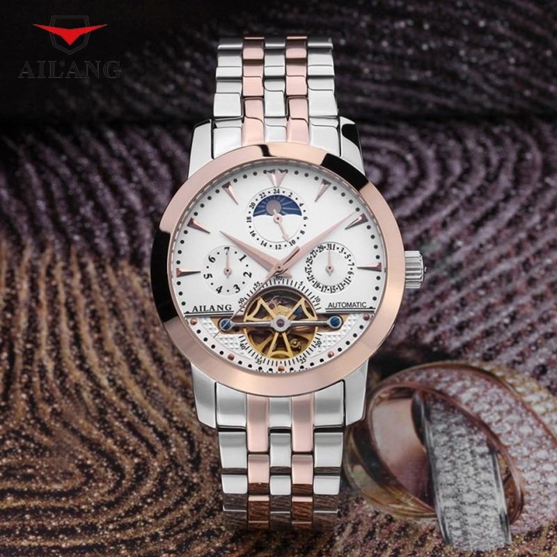 Classic Tourbillon Men Brand Mechanical Watches Self-winding Full Steel Wrist watch Moon Phase Calendar Watch Week Analog Reloj